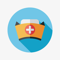 NURSE HAT flat icon with long shadow