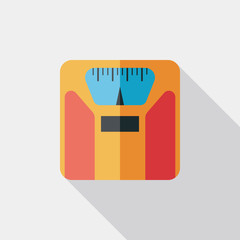 Flat style with long shadows, weight scale vector icon illustrat