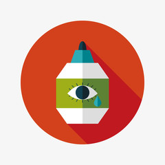 Eye Drop flat icon with long shadow