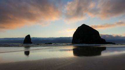 Time Lapse at Sunset on Cannon Beach along Oregon Coast
