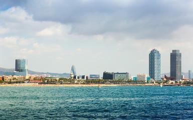 Barceloneta beach from sea