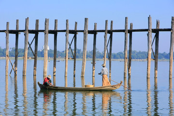Local people fishing from a boat near U Bein Bridge, Amarapura,