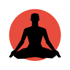 Human silhouette in yoga pose.  Vector illustration. Background.