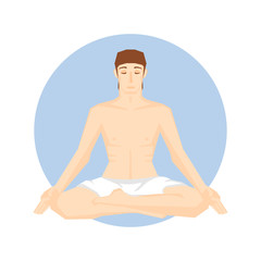 Man sitting in the yoga pose. Lotus position.  Vector