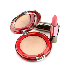lipstick and compact powder