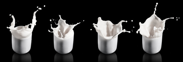 milk splashing from the glass