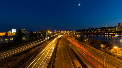 Time Lapse of Light Trails on Freeway Portland OR 1080p