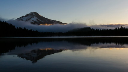 Rolling Fog Over Trillium Lake with Mt Hood in Oregon at Sunrise