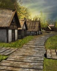 Drewniana droga w średniowiecznej osadzie