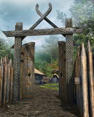 Drewniana średniowieczna brama