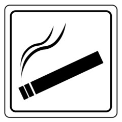 Black smoking area label