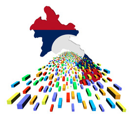Laos map flag with containers illustration