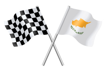 Flags: checkerboard and Cyprus