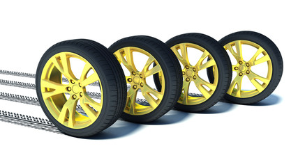 automotive wheel with gold discs