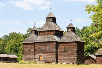Wooden ukrainian antique orthodox church in Kiev, Ukraine