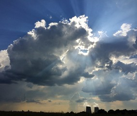Dramatic sky with clouds and beams of light