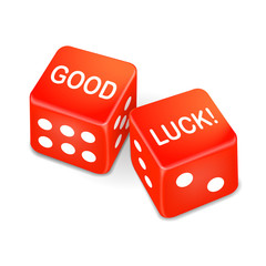 good luck words on two red dice