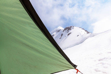 Tent in high mountains