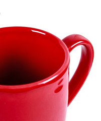 Empty red mug isolated