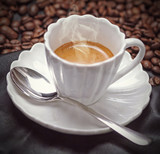 Vintage coffee in a white cup
