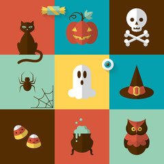 Halloween holiday modern design with flat icons