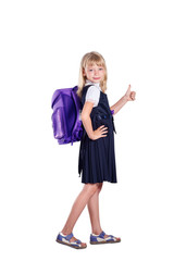 Funny portrait of a cheerful schoolgirl on white background. Sch