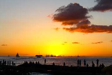 Sunset of Waikiki beach ワイキキビーチの夕暮れ