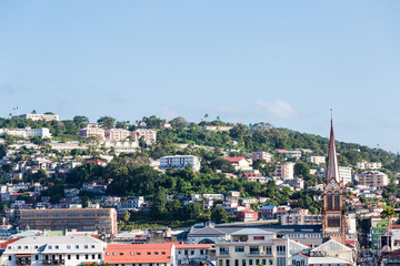 Church Steeple and Buildings in Martinique