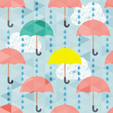 Seamless pattern with umbrella and rain