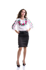Girl in the Ukrainian national clothes isolated on white