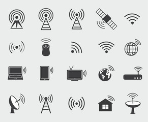 Black wireless icons. Set  icons for wifi control access and ra