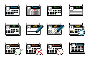 Set of icons calendars