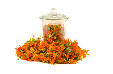 Dried calendula  marigold medical flowers and glass jar