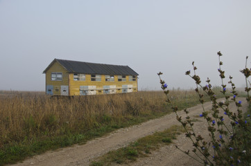 apiary bee house on summer end field and morning mist fog