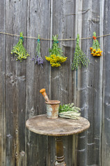 various medical herbs and table with old rusty mortar