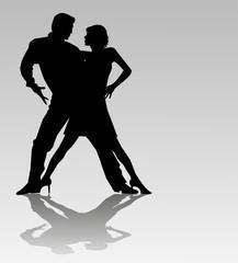 coppia di ballerini silhouette