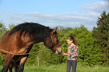Mädchen mit Blume vor Pferd