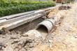 Leinwanddruck Bild - Sewer installation in city