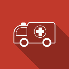 ambulance icon with long shadow