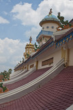 Roof of Cao Dai Temple in Tay Ninh near Ho Chi Minh City poster