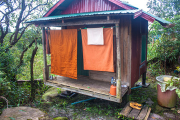 Monk's cottage on Bolaven plateau in Laos