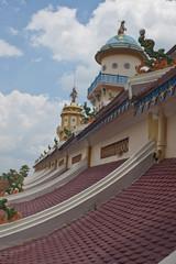 Roof of Cao Dai Temple in Tay Ninh near Ho Chi Minh City