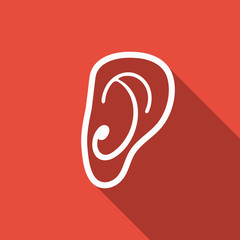 ear icon with long shadow