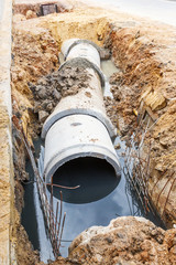 Sewer installation in city