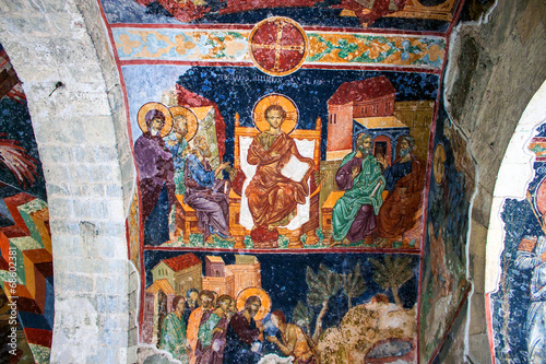 Leinwandbild Motiv Frescoes in the church of Hagia Sophia in Trabzon, Turkey.
