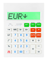 Calculator with EUR on display on white background