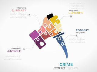 Vector crime infographics