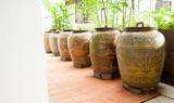 Ancient Thai Jars for storage rainwater poster