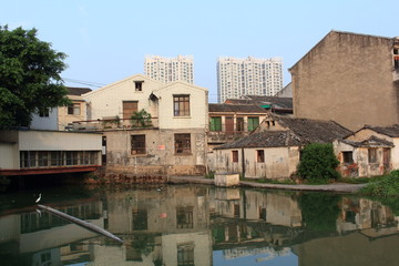 The old building and new building,a white bird stood on the rive