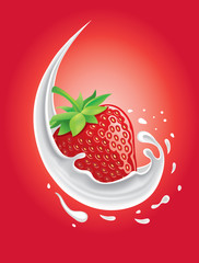 strawberry in milk splash